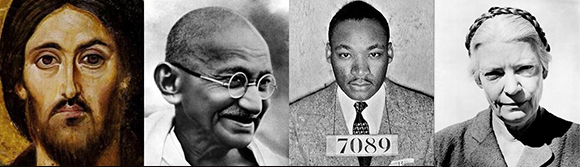Picture of Jesus, Gandhi, Dr. King, and Dorothy Day