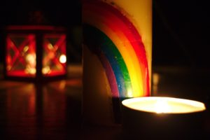 Candle with rainbow
