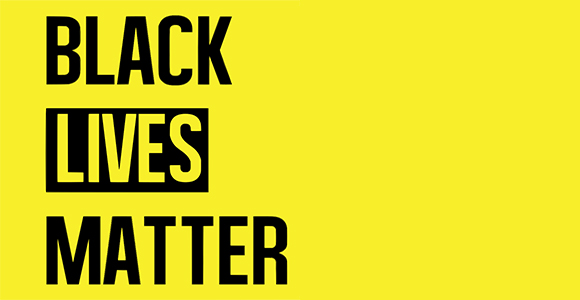 black lives matter on yellow background