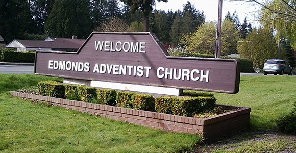 Sign outside Edmonds Adventist Church
