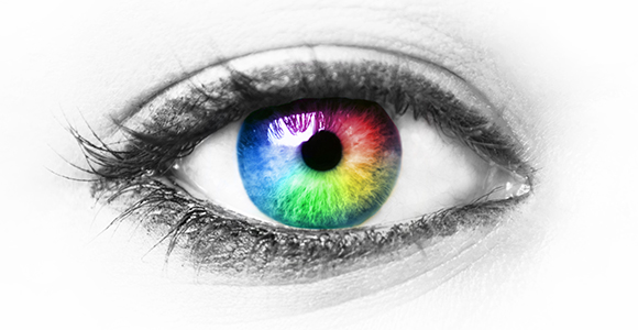 An eye with rainbow coloring