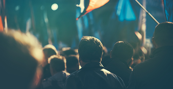 man in a crowd