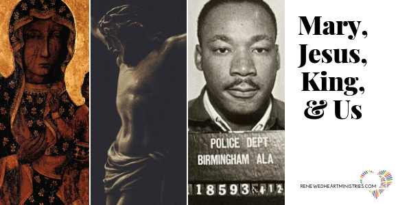 Picture of the Black Madonna, Jesus /crucifix and police booking picture of Dr. Martin Luther King, Jr.