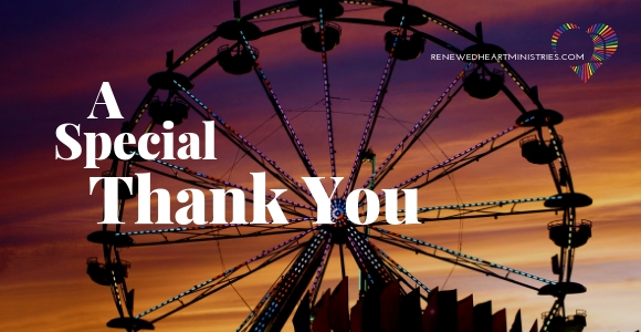 "A carousel at sunset in the background of words that say ""A Special thank you"""