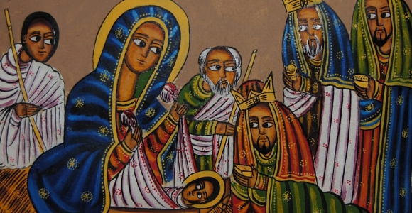 Ethiopian Orthodox Church Nativity Scene painted in traditional style