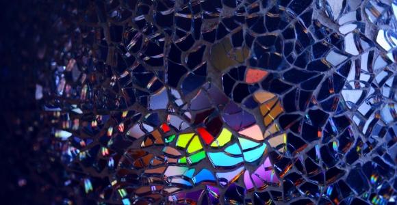 rainbow through glass pieces