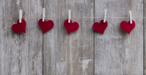 felt hearts on string
