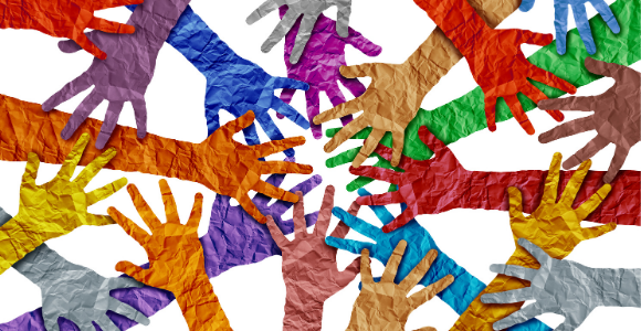 different color hands united