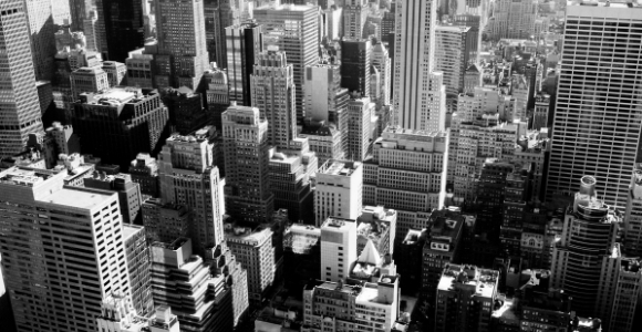 city scape in black and white