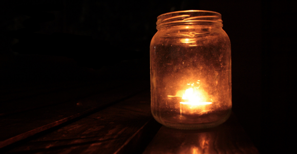 light in a jar in the dark
