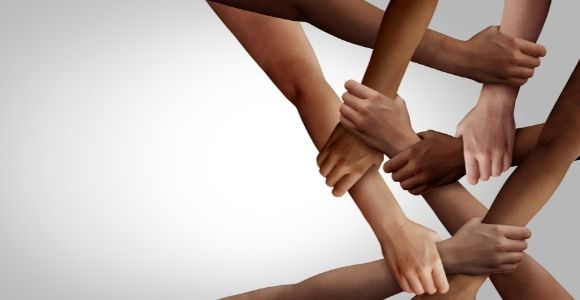diverse hands forming network